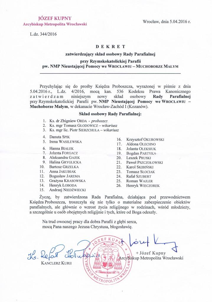 Dekret powołujący Radę Parafialną 2016